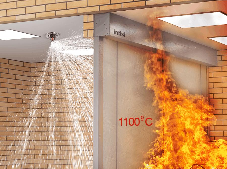 Ensayo de resistencia a la exposición directa al fuego de las cortina cortafuegos Prefire Intisi