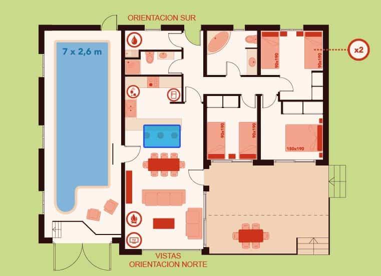 Plano de vivienda con lucernario en comedor